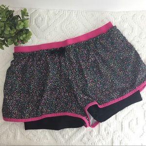 Nike running shorts pink black confetti print L